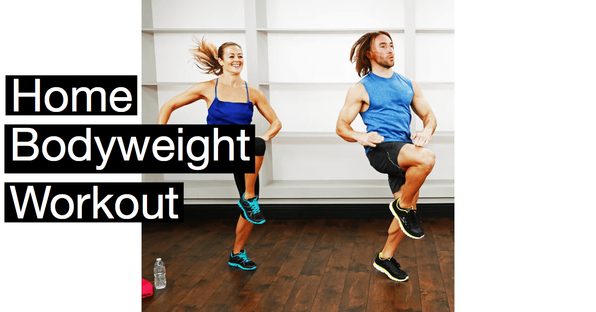 Still image from the video of a man and woman doing a home bodyweight workout