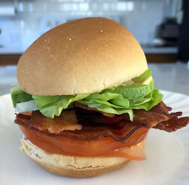 Photo of a BLT sandwich with avocado